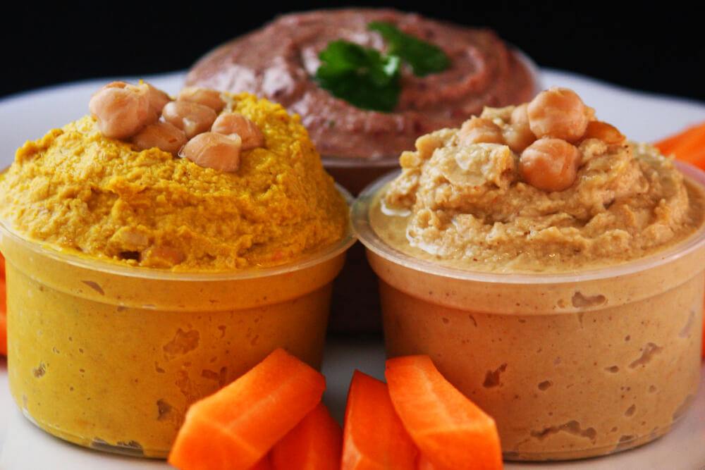 Hummus: Naturell, Curry, Kidney Bohnen